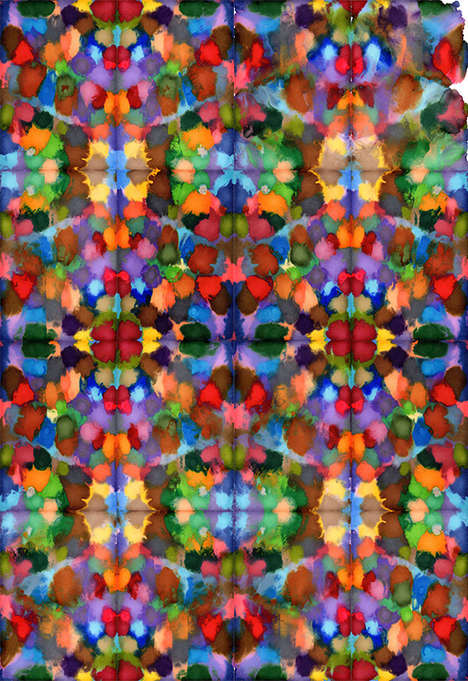 Kaleidoscopic Pen Paintings - Artist Daniel Eatock Turns Colorful Ink into Symmetrical Works of Art