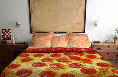 Cheesy Pizza Bedding - This Bedding by Claire Manganiello is Designed to Make Your Bed Delicious