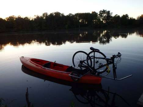 Ingenious Kayak Trailers - The Solo Shuttle Trainer Lets You Kayak with Your Bike and Vice-Versa