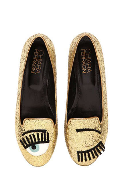 Winking Flirty Footwear - These Glittering Gold Chiara Ferragni Flats Have an Eye-Catching Eye Print