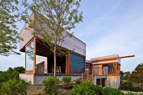 Weathered Environmental Homes - The Island House Blends in with the Natural Landscape