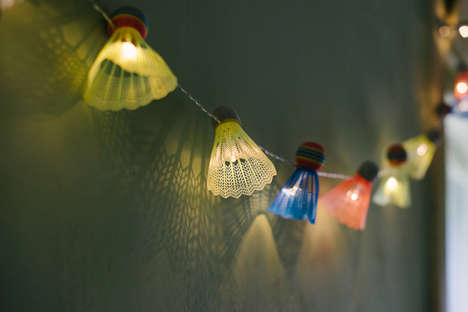 Sporty Shuttlecock Lights - These Sporty Patio Lights are Made from Upcycled Badminton Birdies