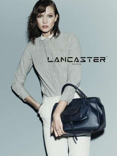 Greasy-Haired Purse Ads - The Lancaster Paris Fall 2014 Campaign Stars Model Karlie Kloss