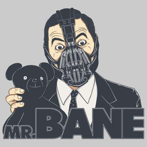 Parody Villain Tees - The Mr. Bane T-Shirt Graphic by Triagus Mashes Up Bane with Mr. Bean