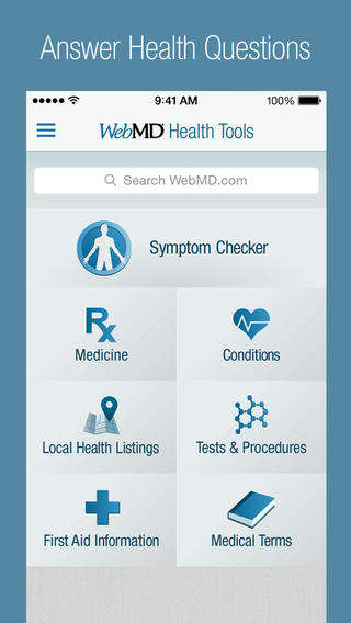 DIY Medical Consultation Apps - The WebMD App is a Handy Symptom Checker and Lifestyle Tracker