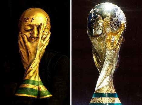 Sports Trophy Makeup Transformations - Emma Allen Turns Herself into the 2014 FIFA World Cup Trophy