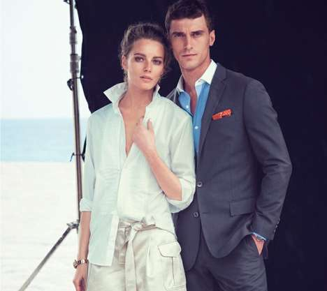 Sophisticated Beachwear Lookbooks - The J. Crew July 2014 Catalog Stars Models Ieva and Clement