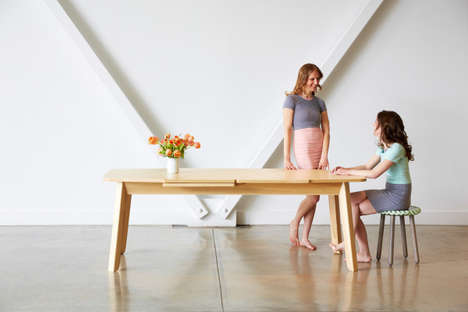 Overlapping Wood Grain Furniture - The Wrap Extending Dining Table by Ebra Folz is Minimalist