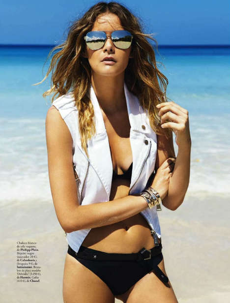 Tousled Bikini Editorials - Model Flavia De Oliveira Poses for Elle Spain