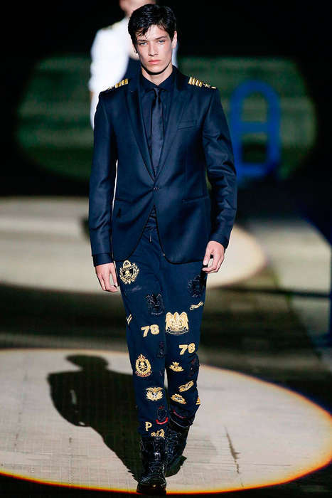 Youthful Marine Menswear - The Philipp Plein Spring/Summer 2015 Collection is Militant