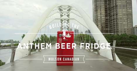 Patriotic Beer Fridges - Molson's National Anthem Beer Fridge Makes You Sing for a Drink