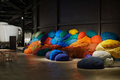 Fabric Tuft Installations - Sheila Hicks Presents Seance for Design Miami
