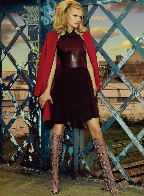 Urban Retro Editorials - The S Moda Photoshoot Stars an Edgy Toni Garrn