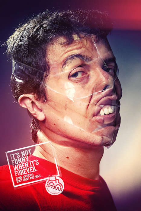 Sellotape Selfie Ads - The Iptran Road Peace Institute Campaign Depicts Deformed Faces