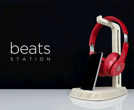Wooden Headphone Stands - Beats by Dre Station by iSkelter Helps Organize and Display Earphones