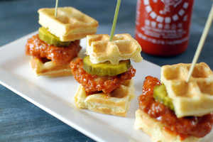 These Chicken Waffle Bites are Covered in Sriracha Sauce