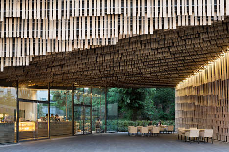 Layered Timber Universities - Kengo Kuma Uses Multiple Timber Slats for the University of Tokyo