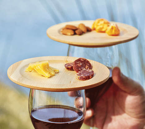 Tapas Wine Lids - The Wine Glass Appetizer Plates Let You Walk, Wine & Dine at the Same Time