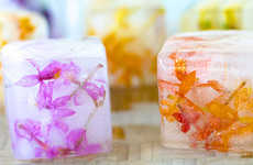 Floral Ice Cubes - These Summertime Ice Cubes are Filled with Delicate Edible Flowers