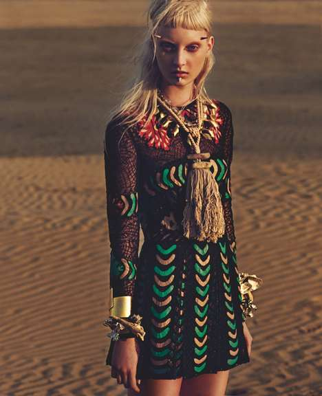 Spiked Facial Piercing Editorials - The W Korea June 2014 Photoshoot Stars a Tribal Codie Young