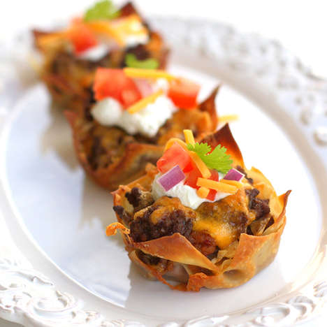 Crunchy Taco Cupcakes - These Savory Cupcakes are Made with Refried Beans and Corn Chips