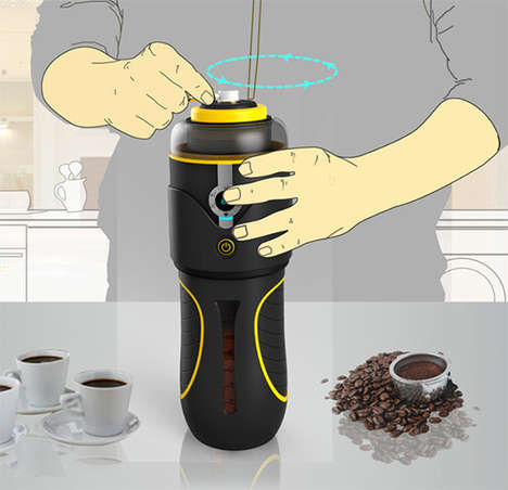 Hand-Cranked Java Dispensers - The Manual Coffee Machine by Xie Ling Lin is Perfect for Camping