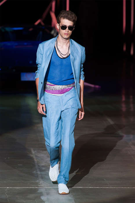 80s Sitcom Menswear - The Roberto Cavalli Spring/Summer 2015 Collection Channels Miami Vice
