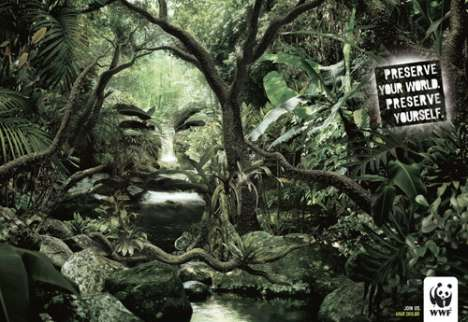 Hidden Ad Images - WWF Blends Human Faces into Environment