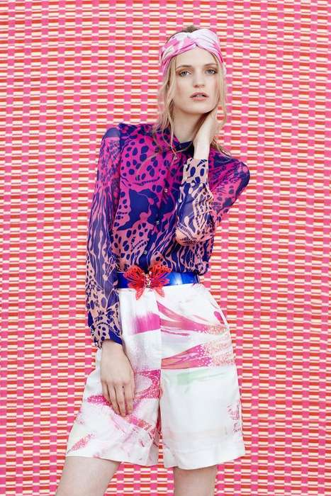 Tropical Brushstroke Fashion - The Matthew Williamson Resort 2015 Collection is Fearlessly Feminine