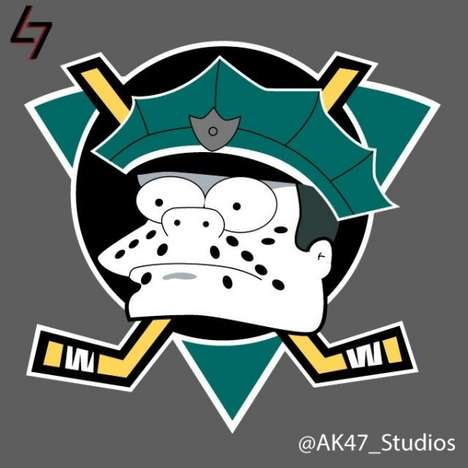 Cartoon Sports Team Mashups - These Simpsonized NHL Logos by AK47_Studios Transform Classic Logos