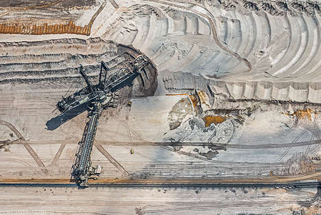 Bird's-Eye Colliery Photography - The Aerial Views Coal Mining Series Captures Largest Manmade Hole