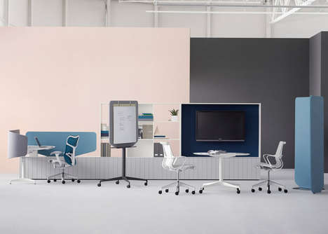 Communal Workspace Furniture - This Flexible Office Furniture Collection is Streamlined and Modern