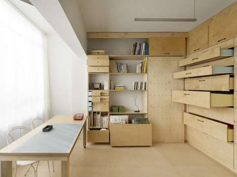 Minimalist Plywood Interiors - The Artist's Atelier by Studio Raanan Stern Embraces Minimalism