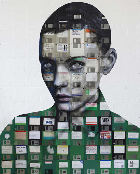 Floppy Disk Portraits - Nick Getty Creates Collaged Portraits of People Using Nostalgic Tech