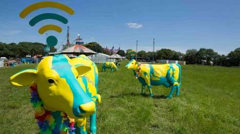 Bovine WiFi Statues - The Glastonbury Festival is