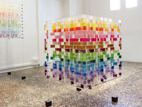 Rainbow Cube Installations - Emmanuelle Moureaux Experiments with her Piece