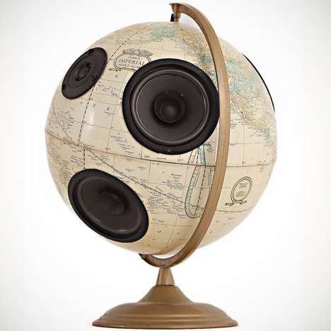 Globe-Embedded Speakers - Play the Music of the World with the Globe Stereo System