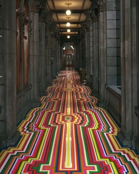 Psychedelic Striped Flooring - Jim Lambie Uses Vibrant Tape to Create Striped Floor Designs