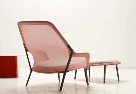 Sheer Fabric Loungers - Slow Chair by Ronan and Erwan Bouroullec Has an Airy Aesthetic