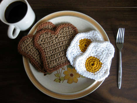 Crochet Breakfast Coasters - This Egg and Toast Coaster Set Will Keep Your Drinks Cozy Warm