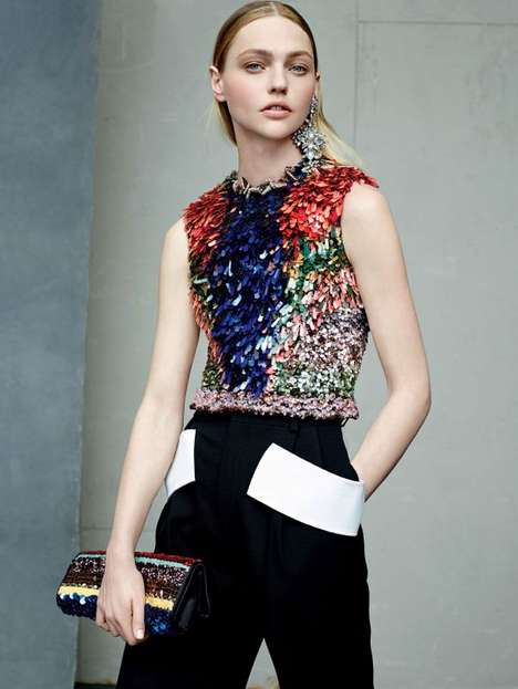 Bedazzled Bodice Editorials - Model Sasha Pivovarova Wows in Floral for Vogue US July 2014