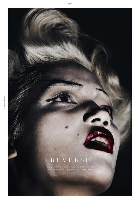 Darkly Glamorous Editorials - The REVS Magazine Photoshoot Stars Charlotte Carey