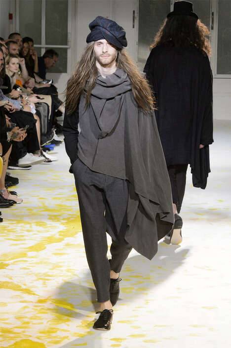 Layered Pauper Attire - The Yohji Yamamoto Spring/Summer 2015 Collection is Dynamically Draped