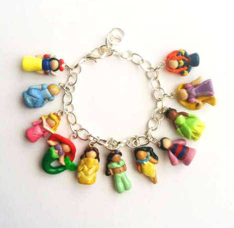Artistic Disney Bracelets - These Charm Bracelets Come with Tiny Polymer Clay Princesses