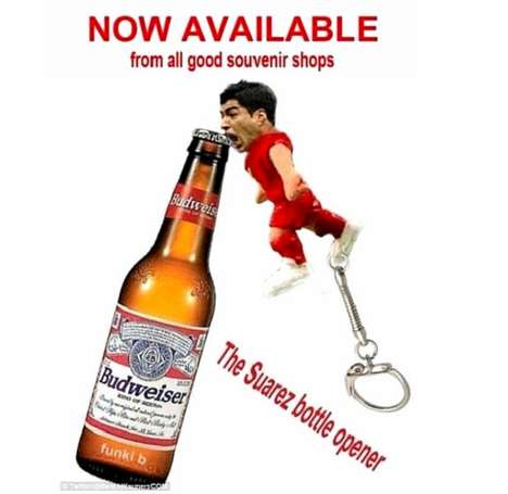 Biting Bottle Openers - This Funny Bottle Opener is a Spoof on When Suarez Bites Chiellini
