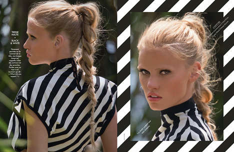 Glamorously Striped Editorials - Model Lara Stone Pouts in the Elle France June 2014 Issue