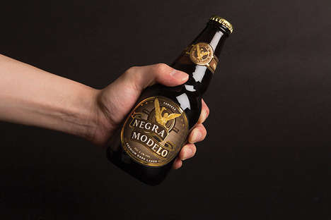 Symbolic Statue Beer Branding - The Negra Modelo Packaging is Stoic