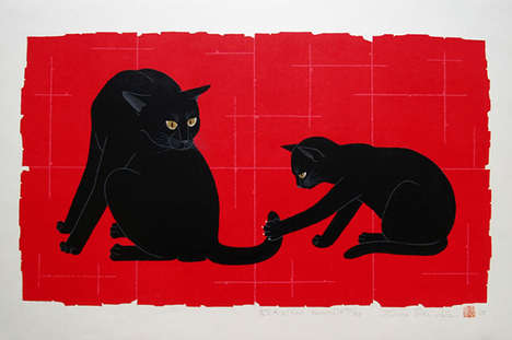 Feline Woodblock Prints - Artist Tadashige Nishida Creates Colorful Cat Silhouettes