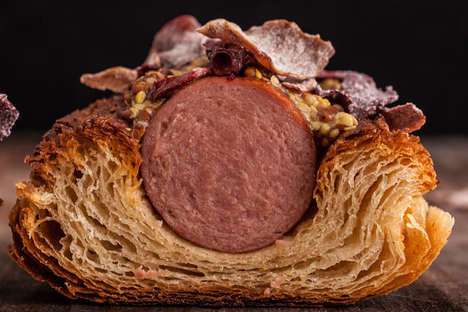 Crunchy Kernel Franks - The Haute Dog is a Gourmet Hot Dog Made with a Mustard Croissant