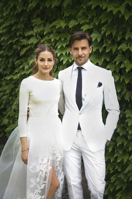 Three-Piece Wedding Dresses - Olivia Palermo Wedding Attire Consisted of Shorts, a Sweater and Skirt